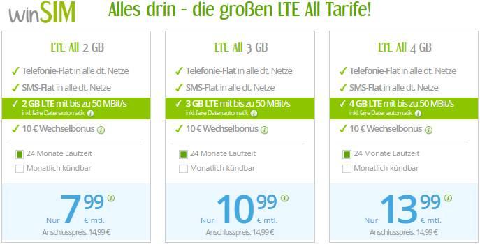 WinSim LTE All 2GB, 3GB, 4GB