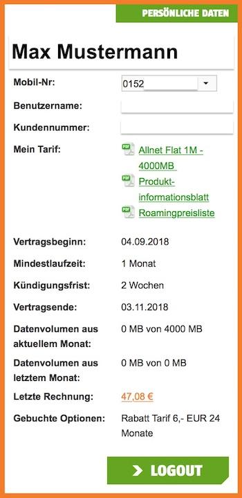 Übersicht vom Klarmobil Onlineservice